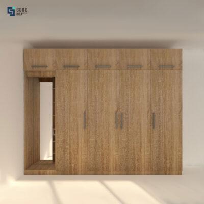 ตู้กระจกเต็มลายไม้